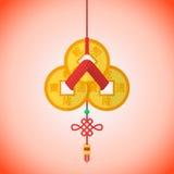 Gruppering för mynt för shui för feng för nytt år för plan stil kinesisk Fotografering för Bildbyråer