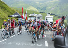 Gruppetto - Tour de France 2014. Col de Peyresourde,France- July 23, 2014: The peloton gruppetto climbing the road to Col de Peyresourde in Pyrenees Mountains Royalty Free Stock Images
