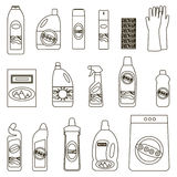 Gruppflaskor av kemikalieer för hushåll på vit bakgrund Vektor Illustrationer