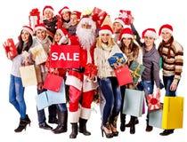 Gruppfolk och jultomten Royaltyfria Foton