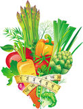 gruppgrönsaker royaltyfri illustrationer
