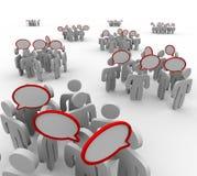 Gruppi che comunicano le conversazioni di discorso Fotografie Stock