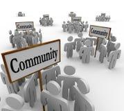 Gruppi della gente della Comunità intorno al vicino di amicizia della società dei segni Immagini Stock Libere da Diritti