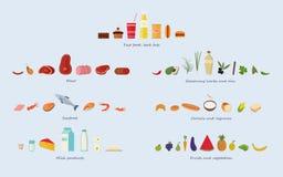 Gruppi di alimento differenti carne, frutti di mare, cereali, frutta e verdure, erbe e petroli, alimenti a rapida preparazione e  illustrazione di stock