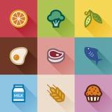 Gruppi di alimento. Progettazione piana Fotografie Stock