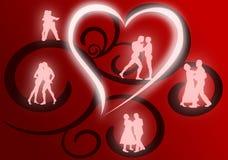 Gruppi di ballare degli amanti royalty illustrazione gratis