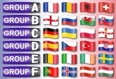 Gruppi di calcio di bandiere Fotografia Stock Libera da Diritti