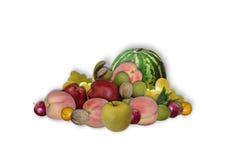 Gruppi di frutti, di dadi e di anguria su fondo bianco Immagine Stock Libera da Diritti
