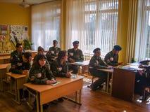Gruppi di ricerca della scuola nella regione di Kaluga di Russia Fotografie Stock Libere da Diritti