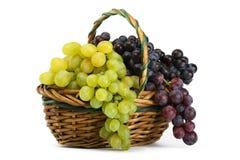 Gruppi di terminali dell'uva gialla e nera in un cestino Immagine Stock