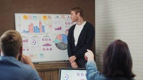 Gruppieren Sie die Geschäftsleute, die eine Sitzung unter Verwendung eines weißen Brettes in den modernen Büroräumen haben stock video footage