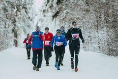 Gruppieren Sie die älteren männlichen Athleten, die schneebedeckte Gasse im Park laufen lassen Stockbild