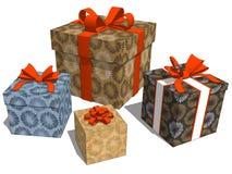 Gruppieren Sie Geschenke mit dekorativem Muster der Blume für Weihnachtsfeier vektor abbildung