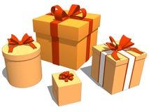 Gruppieren Sie Geschenke mit orange Farbe für Weihnachtsfeier lizenzfreie abbildung