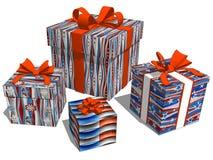 Gruppieren Sie Geschenke mit Sternchen-Vereinbarung für Weihnachtsfeier vektor abbildung