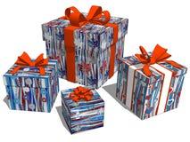 Gruppieren Sie Geschenkkasten für Geburtstags-oder Weihnachtsfeier vektor abbildung