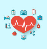 Gruppieren Sie moderne flache Ikonen von medizinischen Elementen und von Gegenständen Lizenzfreie Stockfotos