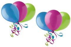 Gruppierte Partei-Ballone auf Weiß Stockbilder