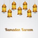 Gruppillustrationen hängde den guld- realistiska lyktan för gruppen för islamisk berömhändelse, ramadan kareem och mubarak stock illustrationer