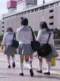 gruppjapanschoolgirls Royaltyfria Bilder