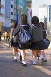 gruppjapanschoolgirls Royaltyfri Foto