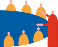 Gruppkonferenstabell stock illustrationer
