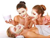 Gruppkvinnor med den ansikts- maskeringen arkivbild