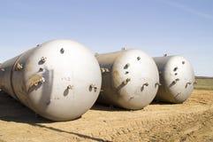 Grupplagringsbehållare för bensin Arkivbild