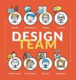 Gruppo addetto alla progettazione Vector i concetti della comunità del gruppo con le icone di profilo illustrazione di stock