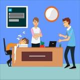 Gruppo annoiato e stanco di affari che dorme alla presentazione in ufficio illustrazione vettoriale