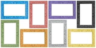 Gruppo antico elegante di cornici colorate Fotografia Stock