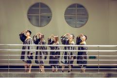 Gruppo asiatico di graduazione dell'istituto universitario Fotografie Stock Libere da Diritti