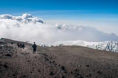 Gruppo che discende dalla sommità di Kilimanjaro Fotografia Stock Libera da Diritti
