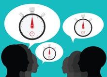 Gruppo che parla del temporizzatore del cronometro Fotografia Stock