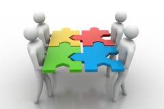 Gruppo con i puzzle in mani Illustrazione Vettoriale