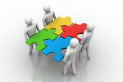 Gruppo con i puzzle in mani Illustrazione di Stock