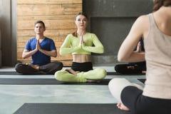 Gruppo con l'istruttore di yoga nel club di forma fisica Immagini Stock Libere da Diritti