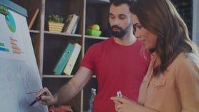 Gruppo creativo che discute il business plan della società sulla lavagna nell'ufficio video d archivio