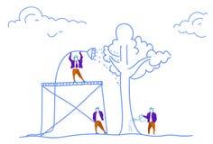 Gruppo d'innaffiatura di strategia di successo di futuro di concetto di crescita di affari della pianta dell'albero dell'uomo d'a illustrazione vettoriale