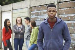 Gruppo degli adolescenti che vanno in giro nell'ambiente urbano Immagine Stock Libera da Diritti