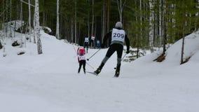Gruppo degli atleti degli sciatori di montagna giù in foresta video d archivio