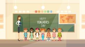 Gruppo degli scolari di Day Holiday Class dell'insegnante illustrazione di stock