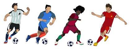 Gruppo dei calciatori di calcio Fotografie Stock Libere da Diritti