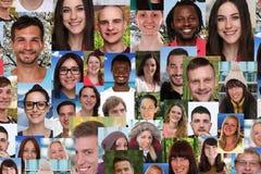 Gruppo del collage del fondo di giovani sorridenti multirazziali soc fotografia stock libera da diritti