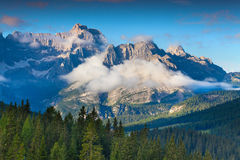 Gruppo Del Cristallo mountain range at foggy summer morning. Dol Royalty Free Stock Images