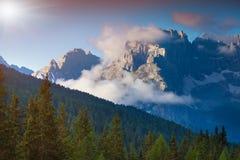 Gruppo Del Cristallo mountain range at foggy summer morning. Dol Royalty Free Stock Photography