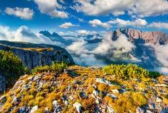 Gruppo Del Cristallo mountain range at foggy summer morning Royalty Free Stock Photo