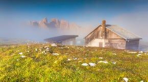 Gruppo Del Cristallo mountain range in the morning mist. Dolomit Royalty Free Stock Photo