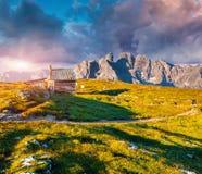 Gruppo Del Cristallo mountain range in the morning mist Stock Photography