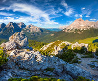Gruppo Del Cristallo mountain range at sunny summer morning. Dol Royalty Free Stock Photography